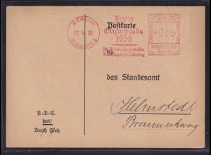 """Fernkarte mit Freistempel """"Stadt der Olympiade 1936 """" Berlin 1936"""