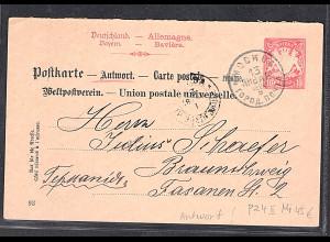 Bayern, Ganzsache Mi.-Nr. P 24 II/02, Antwortteil, gestempelt aus Moskow.