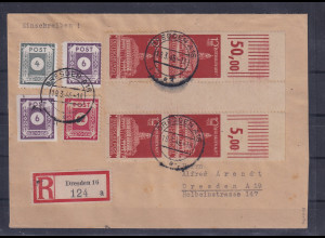 SBZ-Ost-Sachen, Mi.-Nr. 2x 65 aA ZW, auf R-Ortsbrief, FA. Ströh