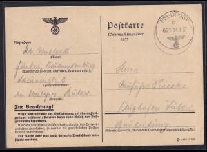 DR, Feldpost Wehrmacht-Manöver 1937. gelaufen Front-Heimat.
