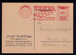 DR. Reklame-Karte, Texta Textil-Etage, P.G Müller & Co. Hamburg