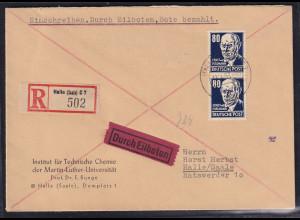 DDR 1953, Freimarke Mi.-Nr. 339 xb XI, 2X auf Ortsbrief, FA. Paul