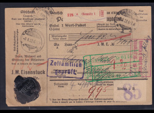DR., Ausland-Paketkarte mit Gebühr bezahlt aus Chemnitz