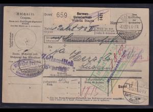 DR., Ausland-Paketkarte mit Gebühr bezahlt aus Barmen-Unterbarmen/Selbstbucher