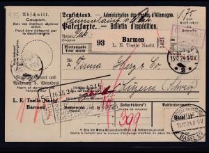 DR., Ausland-Paketkarte mit Gebühr bezahlt aus Barmen/Selbstbucher