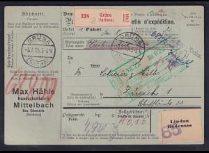 DR., Ausland-Paketkarte mit Gebühr bezahlt aus Grüna