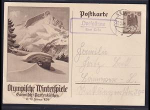 DR. Ganzsache. Mi.-Nr. P 257 gelaufen mit Landstempel Ovelgönne über Celle.