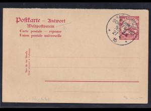 Deutsche Kolonie Togo Ganzsache -Antwort 10 Pf.blanko gest. Mariene-Schiffspost