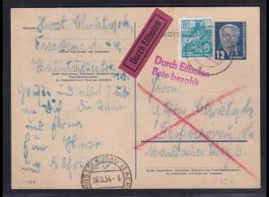 DDR., Ganzsache als Eilbote-Fernkarte gelaufen mit Ak-St,