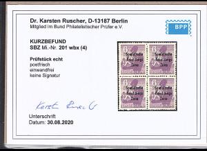 SBZ Mi.-Nr.201 wbx 4er Block, postfrisch, KB. DR. Ruscher