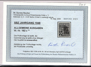 SBZ Mi.-Nr.182 c postfrisch, Befund. DR. Ruscher