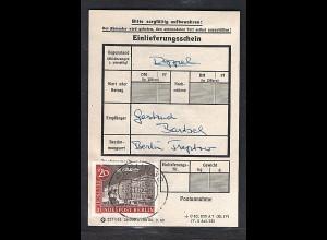 Berlin, EF. Mi.-Nr. 221 auf Einlieferungsschein.
