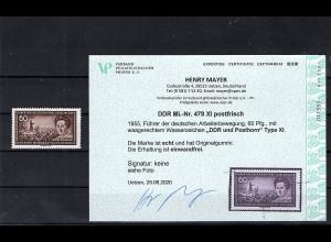 DDR. Mi.-Nr. 478 XI, postfrisch, Befund Mayer.