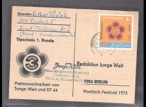 DDR Spendenmarke 1 auf Karte gestempelt, Mi. 90 €.