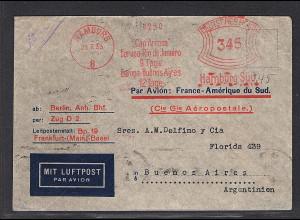 DR., Ausland Luftpostbrief mit Hamburger Frei-St. nach Buenos Aires