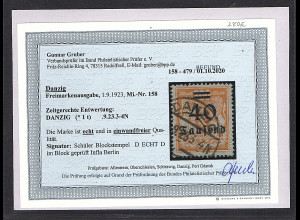 Danzig, Mi.-Nr. 158 gestempelt, Befund Gruber BPP.