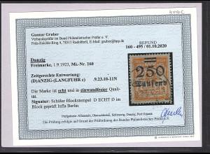 Danzig, Mi.-Nr. 160 gestempelt, Befund Gruber BPP.