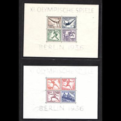 DR, XI. Olympische Spiele Berlin 1936, Mi.-Nr. Block 5 + 6, postfrisch.