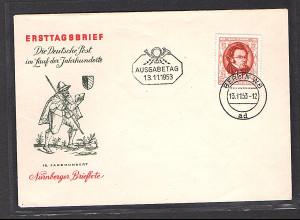 DDR FDC Mi.-Nr. 404 Franz Schubert mit Ausgabe Stempel 13.11.1953