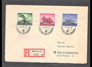 DR. R-Fernbrief mit MeF. Mi.-Nr. 875,879,884