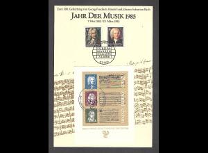 DDR - BRD - Gedenkblatt, Jahr der Musik 1985