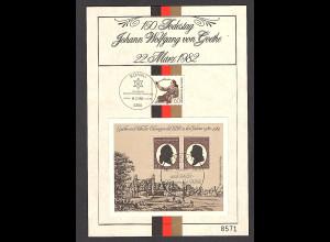 DDR - BRD - Gedenkblatt, 150 Todestag von Goethe 1982