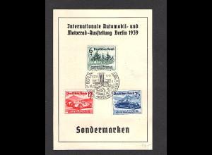 DR. Inter. Automobil und Motorradausstellung Berlin 1939 mit Mi.-Nr.686-688, FDC