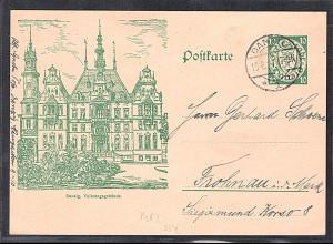 Danzig, Ganzsache Mi.-Nr. P 38 I,Volkstagsgebäude, gestempelt.