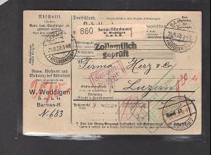 DR., Ausland-Paketkarte mit Gebühr bezahlt aus Barmen-Rittershausen,Selbstbucher