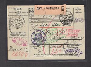 DR., Ausland-Paketkarte mit Gebühr bezahlt aus Frankfurt/Selbstbucher