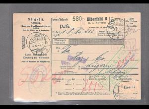 DR., Ausland-Paketkarte mit Gebühr bezahlt aus Elberfeld 6/Selbstbucher