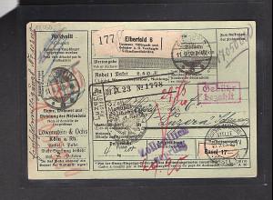 DR., Ausland-Paketkarte mit Gebühr bezahlt aus Eberfeld 6/Selbstbucher.