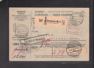 DR., Ausland-Paketkarte mit Gebühr bezahlt aus Offenbach 2/Selbstbucher.