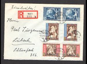 DR. R-Fern-Satzbrief mit Mi.-Nr. 823-825, portorichtig.