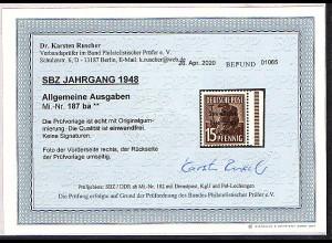 SBZ., Mi-Nr 187 ba, mit Seitenrand, postfrisch, Befund, RuscherBPP.