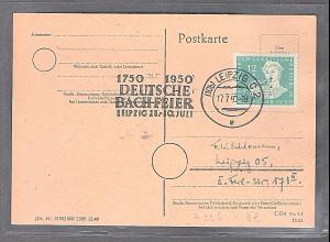DDR. Mi.-Nr. 256 auf Karte mit SSt. Deutsche Bachfeier.