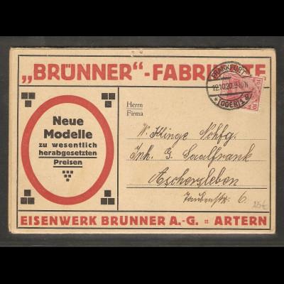 DR. Reklame-Falt-Karte, Eisenwerk Brunner A.-G., Artern