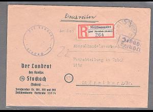 All. Bes. R-Fernbrief mit Gebühr Bezahlt aus Stockach-14.2.46