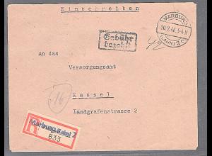 All. Bes. R-Fernbrief mit Gebühr Bezahlt aus Marburg-20.2.46, Prov. R-Zettel-
