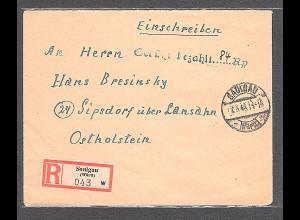 All. Bes. R-Fernbrief mit Gebühr Bezahlt 84 Rp aus Saulgau-7.5.46