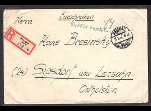 All. Bes. R-Fernbrief mit Gebühr Bezahlt 84 Rpf aus Saulgau-11.3.46