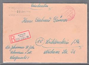 SBZ. R-Fernbrief mit Gebühr bezahlt aus Schwerin- 11.1.46