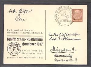 DR., Privatganzsache, Briefmarken-Ausstell. Hannover 1937 PP 122- C62, gest.