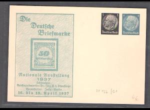 DR., Privatganzsache, Die Briefmarke Ausstellung 1937 , PP 132-C1, ungebraucht