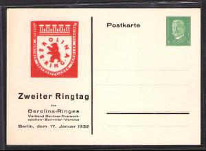 DR., Privatganzsache, Berolina Ring/Zweite Ringtag , PP 117-C7/03, ungebraucht