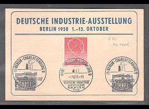 Berlin, Deutsche Industrie-Ausstellung Mi.-Nr. 71 auf Karte mit ESST/FDC