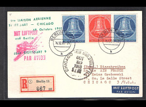 Berlin, R-Luftpost-Auslandkarte mit MiF.Mi.-Nr. 103 + 2x104