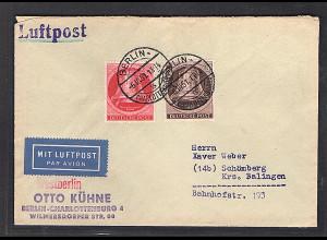 Berlin, Luftpost-Fernbrief mit MiF.Mi.-Nr. 75 + 77