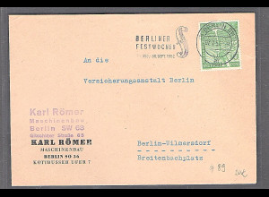 Berlin,Ortsbrief mit EF.Mi.-Nr. 89