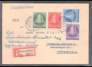 Berlin, R-Luftpost-Auslandbrief mit MiF.Mi.-Nr. 102-105